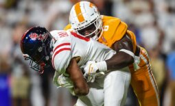 Oct 16, 2021; Knoxville, Tennessee, USA; Tennessee Volunteers linebacker Byron Young (6) tackles Mississippi Rebels running back Jerrion Ealy (9) during the first half at Neyland Stadium. Mandatory Credit: Bryan Lynn-USA TODAY Sports