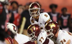 Oct 16, 2021; Salt Lake City, Utah, USA; Arizona State Sun Devils quarterback Jayden Daniels (5) calls out a play in the first quarter against the Utah Utes at Rice-Eccles Stadium. Mandatory Credit: Rob Gray-USA TODAY Sports