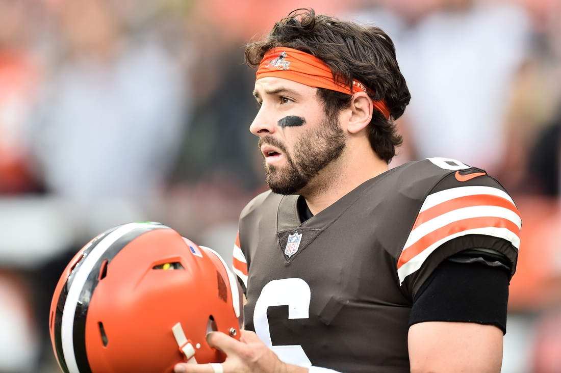 Oct 17, 2021; Cleveland, Ohio, USA; Cleveland Browns quarterback Baker Mayfield (6) warms up before the game between the Browns and the Arizona Cardinals at FirstEnergy Stadium. Mandatory Credit: Ken Blaze-USA TODAY Sports