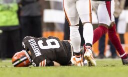 Oct 17, 2021; Cleveland, Ohio, USA; Cleveland Browns quarterback Baker Mayfield (6) lays on the ground from an injury during the third quarter against the Arizona Cardinals at FirstEnergy Stadium. Mandatory Credit: Scott Galvin-USA TODAY Sports