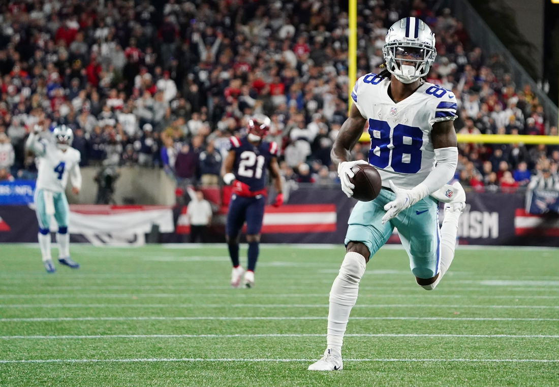 Oct 17, 2021; Foxborough, Massachusetts, USA; Dallas Cowboys wide receiver CeeDee Lamb (88) makes the catch and runs the ball for the game winning touchdown in overtime at Gillette Stadium. Mandatory Credit: David Butler II-USA TODAY Sports