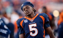 Oct 17, 2021; Denver, Colorado, USA; Denver Broncos quarterback Teddy Bridgewater (5) reacts in the fourth quarter against the Las Vegas Raiders at Empower Field at Mile High. Mandatory Credit: Isaiah J. Downing-USA TODAY Sports