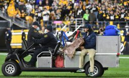 Oct 17, 2021; Pittsburgh, Pennsylvania, USA;  Seattle Seahawks defensive end Darrell Taylor (52) is carted off the field against the Pittsburgh Steelers during the fourth quarter at Heinz Field. The Steelers won 23-20. Mandatory Credit: Philip G. Pavely-USA TODAY Sports