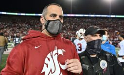 Oct 16, 2021; Pullman, Washington, USA; Washington State Cougars head coach Nick Rolovich celebrates after a game against the Stanford Cardinal at Gesa Field at Martin Stadium. The Cougars won 34-31. Mandatory Credit: James Snook-USA TODAY Sports
