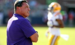 Oct 23, 2021; Oxford, Mississippi, USA; LSU Tigers head coach Ed Orgeron looks up at the scoreboard during the first half against the Mississippi Rebels at Vaught-Hemingway Stadium. Mandatory Credit: Petre Thomas-USA TODAY Sports