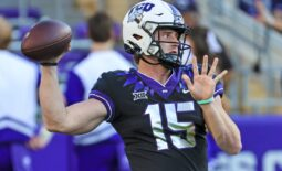 Oct 23, 2021; Fort Worth, Texas, USA; TCU Horned Frogs quarterback Max Duggan (15) throws before the game against the West Virginia Mountaineers at Amon G. Carter Stadium. Mandatory Credit: Kevin Jairaj-USA TODAY Sports