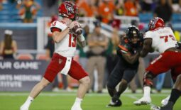 Oct 23, 2021; Miami Gardens, Florida, USA; North Carolina State Wolfpack quarterback Devin Leary (13) prepares to throws a pass against the Miami Hurricanes during the first quarter of the game at Hard Rock Stadium. Mandatory Credit: Sam Navarro-USA TODAY Sports