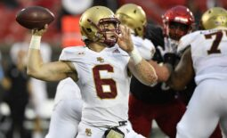 Oct 23, 2021; Louisville, Kentucky, USA;  Boston College Eagles quarterback Dennis Grosel (6) looks to pass the ball against the Louisville Cardinals during the second half of play at Cardinal Stadium. Louisville defeated Boston College 28-14. Mandatory Credit: Jamie Rhodes-USA TODAY Sports