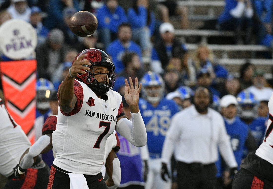 Oct 23, 2021; Colorado Springs, Colorado, USA;  San Diego State Aztecs quarterback Lucas Johnson (7) throws a pass during the first quarter against the Air Force Falcons at Falcon Stadium. Mandatory Credit: John Leyba-USA TODAY Sports