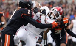 Oct 23, 2021; Corvallis, Oregon, USA; Utah Utes running back Micah Bernard (2) dives into the end zone to score a touchdown against Oregon State Beavers defensive back Rejzohn Wright (1) during the first half at Reser Stadium. Mandatory Credit: Soobum Im-USA TODAY Sports