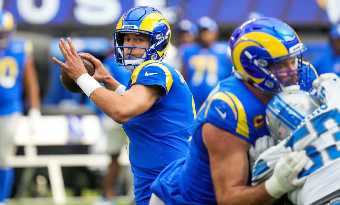 Oct 24, 2021; Inglewood, California, USA; Los Angeles Rams quarterback Matthew Stafford (9) throws a pass during the first quarter against the Detroit Lionsu at SoFi Stadium. Mandatory Credit: Robert Hanashiro-USA TODAY Sports