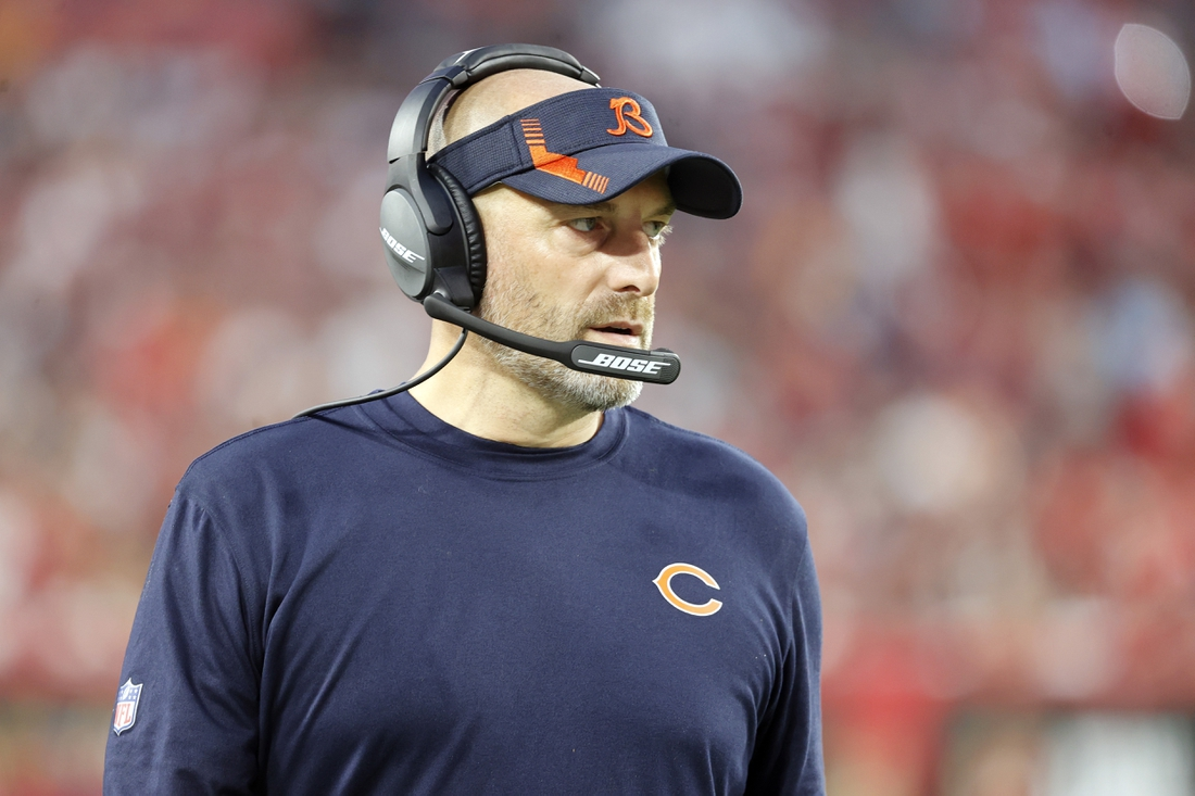 Oct 24, 2021; Tampa, Florida, USA; Chicago Bears head coach Matt Nagy looks on against the Tampa Bay Buccaneers during the second half at Raymond James Stadium. Mandatory Credit: Kim Klement-USA TODAY Sports